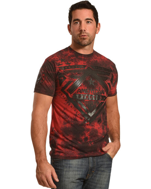 American Fighter Men's Red Wolf Lake Tee , Red, hi-res