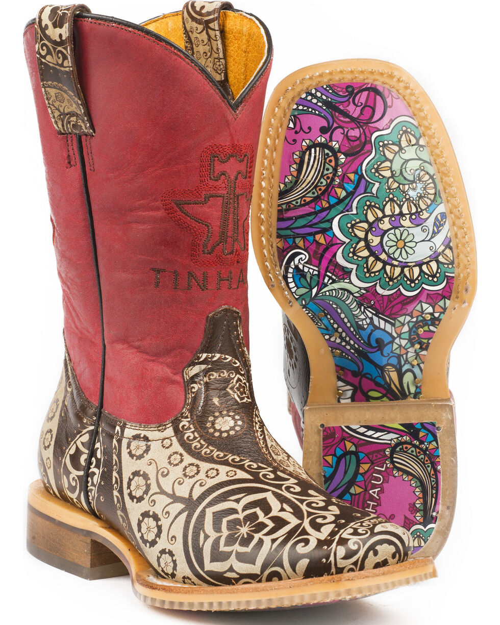 Tin Haul Girls' Paisley Rocks Cowgirl Boots - Square Toe - Sz. 2-3, Brown, hi-res