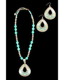 Blazin Roxx Teardrop Turquoise Necklace & Earrings Set, , hi-res