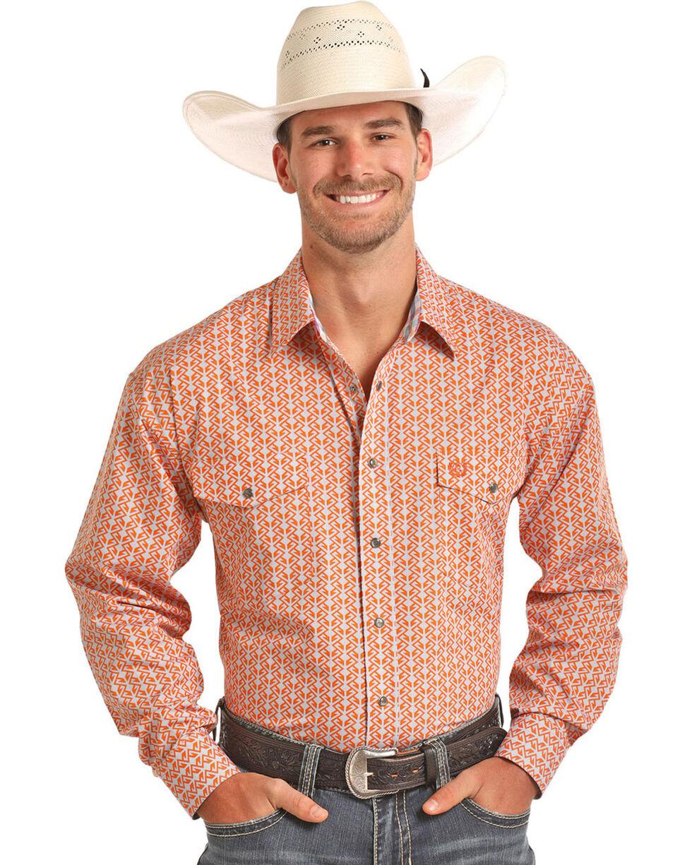 Panhandle Men's Peached Poplin Print Long Sleeve Shirt, Orange, hi-res