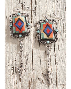 Shyanne Women's Colorful Aztec Arrow Earrings, Silver, hi-res
