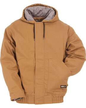 Berne Brown Duck Flame Resistant Hooded Jacket, Brown, hi-res
