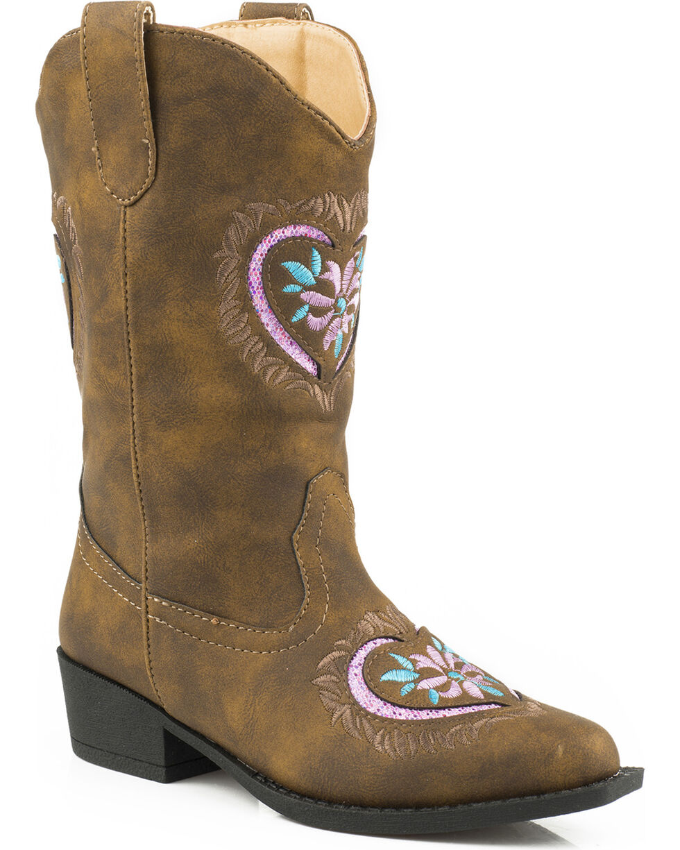 Roper Youth Girls' Pink Glitter Heart Cowgirl Boots - Snip Toe , Brown, hi-res