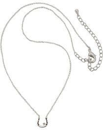 Montana Silversmiths Women's Small Horseshoe CZ Necklace, , hi-res