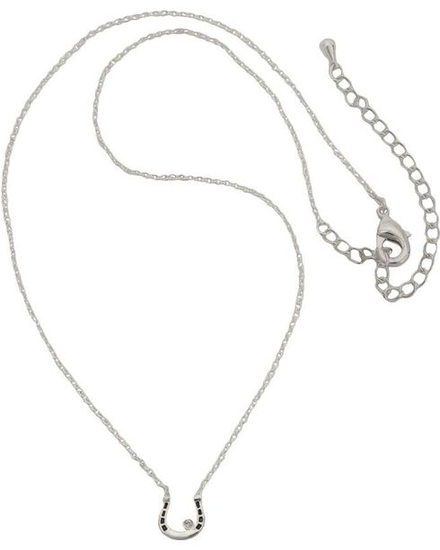 Montana Silversmiths Women's Small Horseshoe CZ Necklace, Silver, hi-res