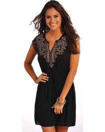 Rock & Roll Cowgirl Women's Sleeveless Aztec Embroidery Dress , Black, hi-res
