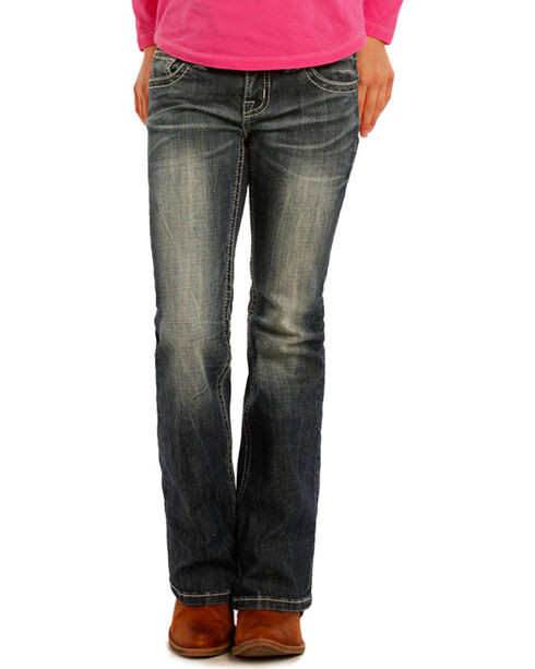 Rock & Roll Cowgirl Girls' Embroidered Boot Cut Jeans, Blue, hi-res