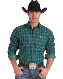 Cinch Men's Green Plaid Contrast Print Western Shirt, , hi-res