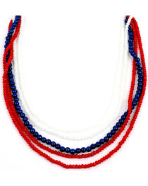 Ethel & Myrtle Six-Strand Red, White, and Blue Beaded Necklace, , hi-res