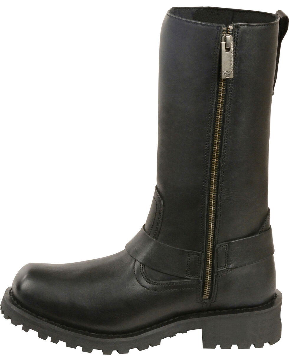 "Milwaukee Leather Women's 11"" Classic Harness Boots - Square Toe, Black, hi-res"