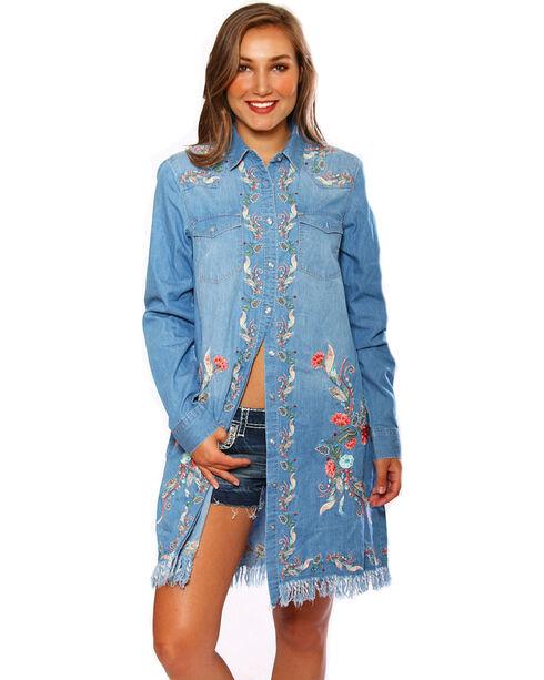 Grace in LA Women's Embroidered Long Sleeve Denim Dress, Indigo, hi-res