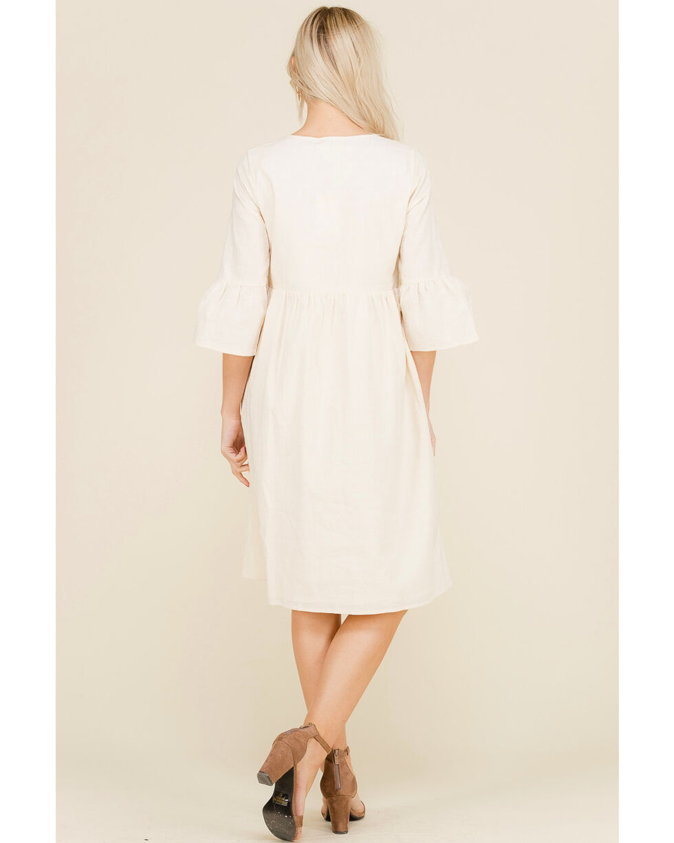 Polagram Women's Embroidered Front Yolk 3/4 Sleeve Dress, Natural, hi-res