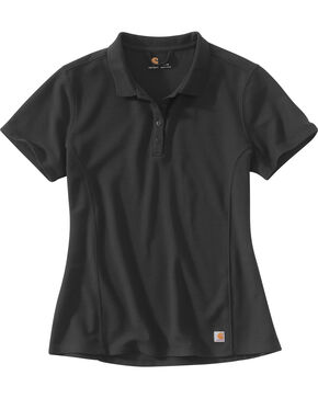 Carhartt Women's Contractor's Short Sleeve Work Polo , Black, hi-res