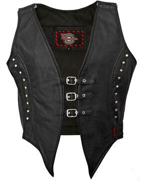 Milwaukee Studded Illusion Leather Vest, Black, hi-res