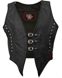 Milwaukee Women's Illusion Studded Leather Motorcycle Vest, , hi-res