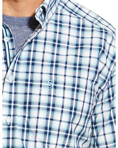 Ariat Men's Blue Nawton Short Sleeve Shirt - Big and Tall , Blue, hi-res