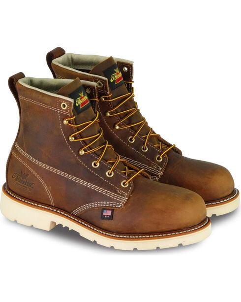 """Thorogood Men's 6"""" American Heritage Work Boots - Steel Toe, Brown, hi-res"""