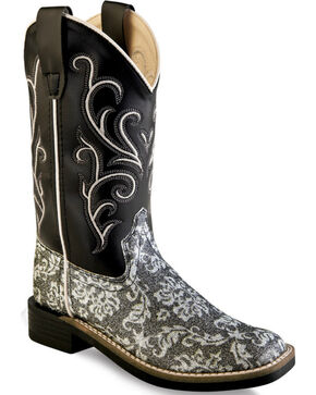 Old West Girls' Black Western Boots - Square Toe , Charcoal Grey, hi-res