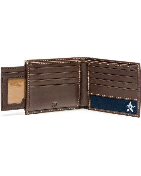 Jack Mason Men's Dallas Cowboys Stadium Sliding 2 in 1 Wallet, Brown, hi-res