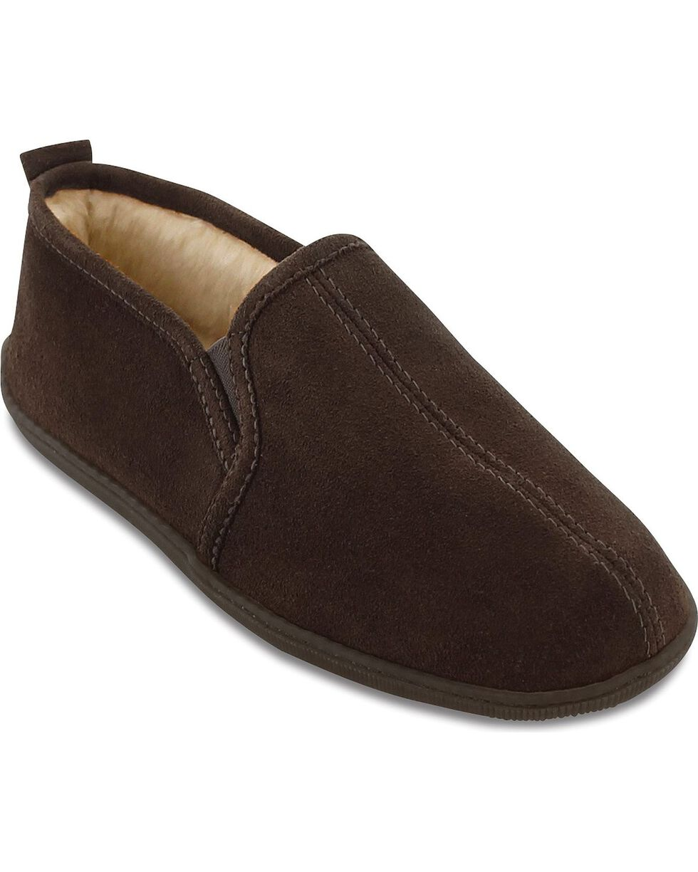 Minnetonka Men's Pile Lined Romeo Slippers, Chocolate, hi-res
