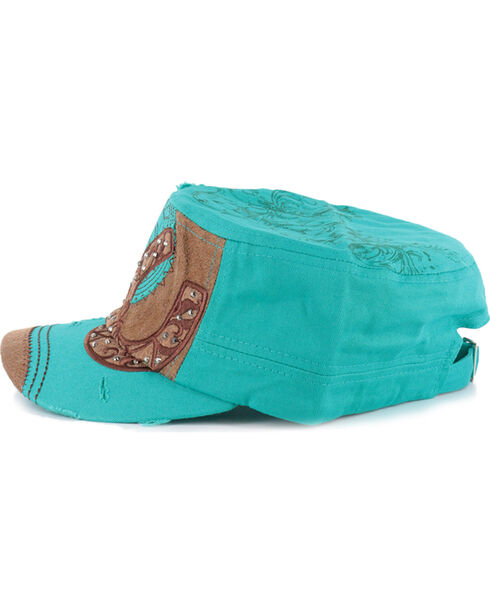 Savana Women's Horseshoe Military Cap, Turquoise, hi-res