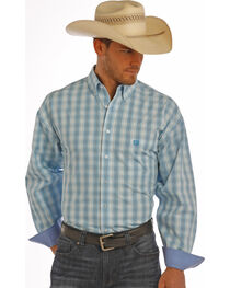 Panhandle Slim Men's Blue Twill Check Shirt , , hi-res