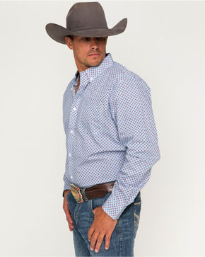 Cody James® Men's Tucson Geo Printed Long Sleeve Shirt, Blue, hi-res