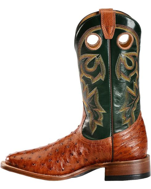 "Boulet Men's Exotic 12"" Ostrich Boots, Brandy, hi-res"