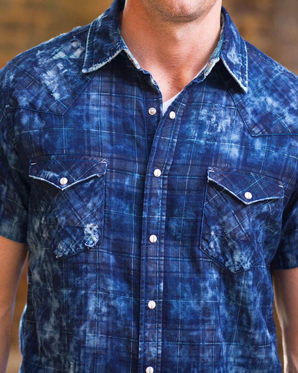Ryan Michael Men's Midnight Distressed Plaid Short Sleeve Shirt, Indigo, hi-res