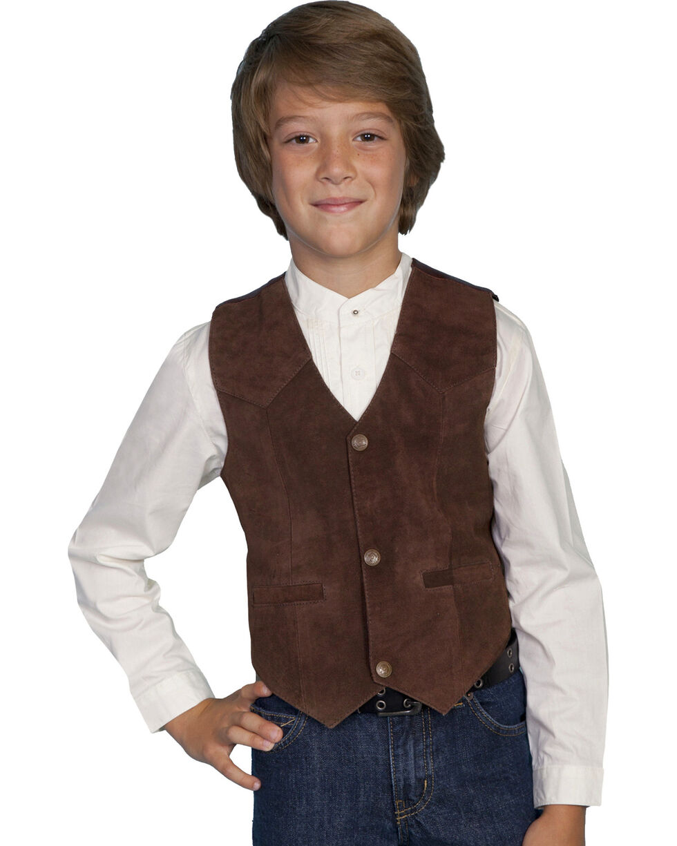 Scully Kid's Boar Suede Vest, Espresso, hi-res