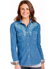 Rough Stock by Panhandle Women's Tribal Embroidery Snap Shirt, , hi-res