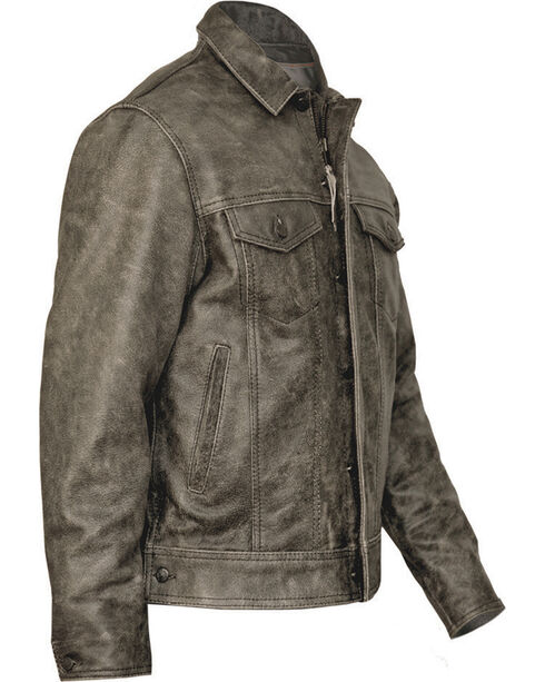 STS Ranchwear Men's Maverick Rustic Leather Jacket, Black, hi-res