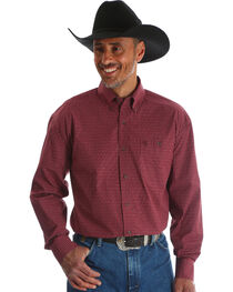 Wrangler Men's Red George Strait Button Down Print Shirt , , hi-res