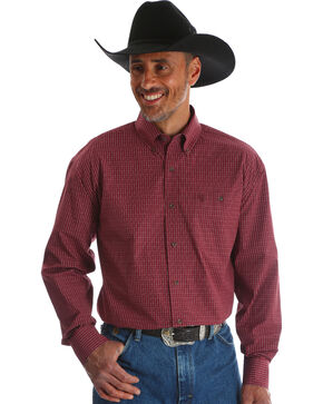 Wrangler Men's Red George Strait Button Down Print Shirt - Big & Tall , Red, hi-res