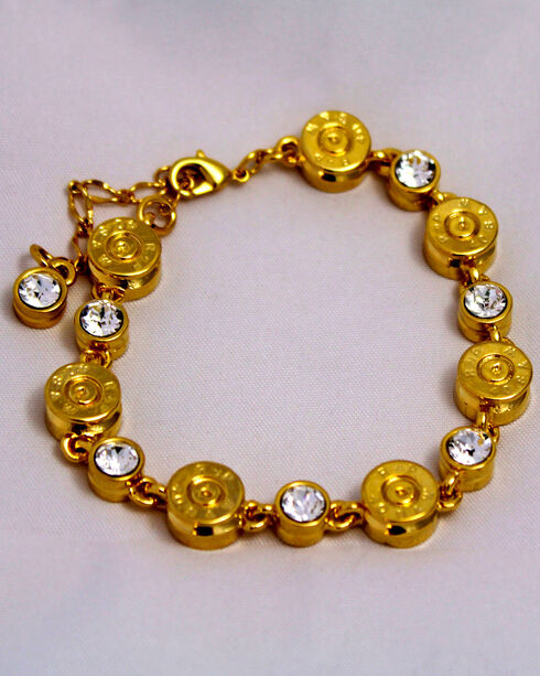 SouthLife Supply Women's Clara Bullet Link Bracelet in Traditional Gold with Crystal, Gold, hi-res