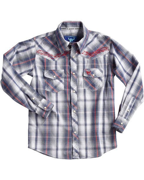 Cowboy Hardware Boys' Navy Barbed Wire Plaid Shirt , Navy, hi-res