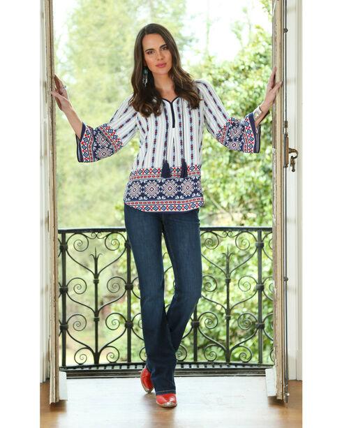 Wrangler Women's Long Sleeve Geometric Print Top, Red/white/blue, hi-res