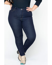 Silver Women's Dark Indigo Robson Jeggings - Plus Size, , hi-res
