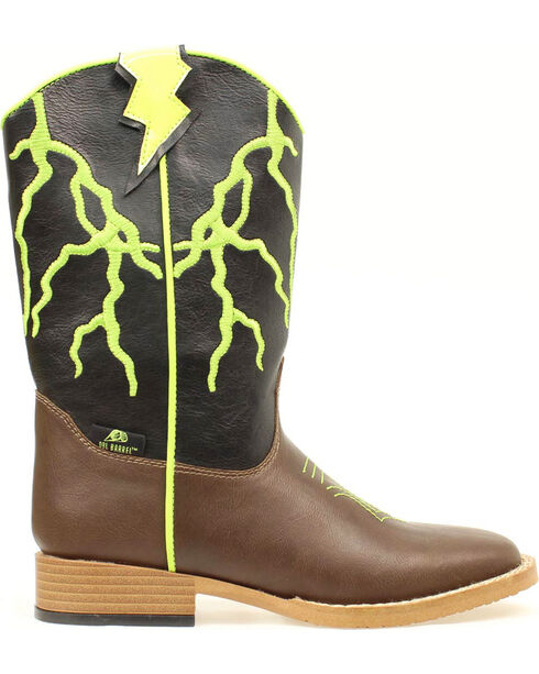 Double Barrel Youth Boys' Ace Lightning Bolt Youth Cowboy Boots - Square Toe, Brown, hi-res