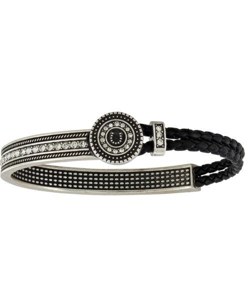 Montana Silversmiths Women's Haloed Horseshoe Lassoed Bangle Attitude Bracelet, Silver, hi-res