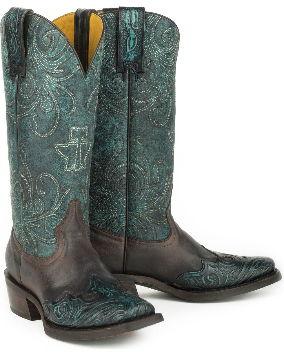 Tin Haul My Blue Heaven Cowgirl Boots - Square Toe , Blue, hi-res
