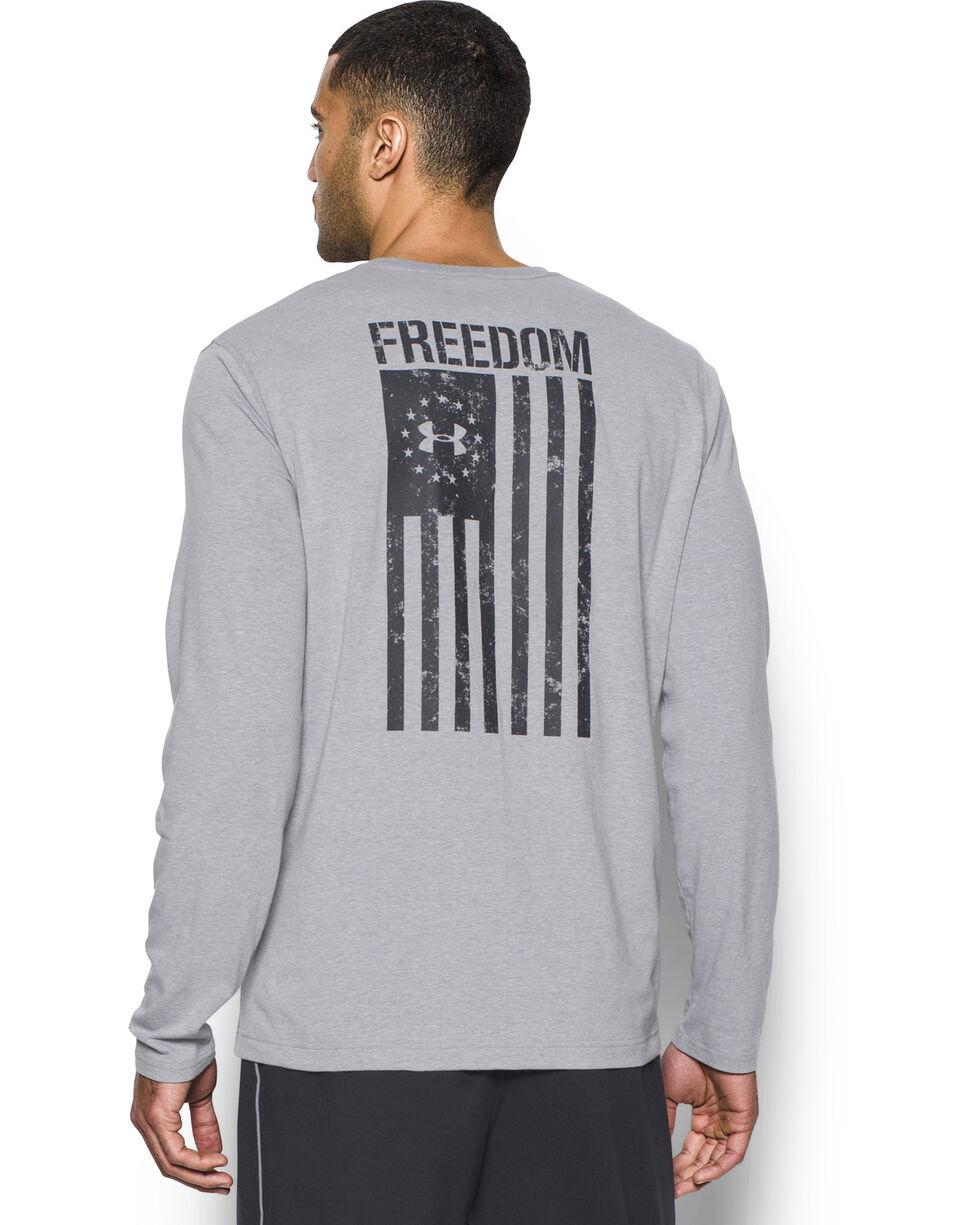 Under Armour Men's Grey Freedom Flag Long Sleeve Tee , Heather Grey, hi-res