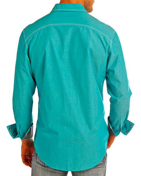 Rock & Roll Cowboy Men's Solid Western Long Sleeve Shirt, Turquoise, hi-res