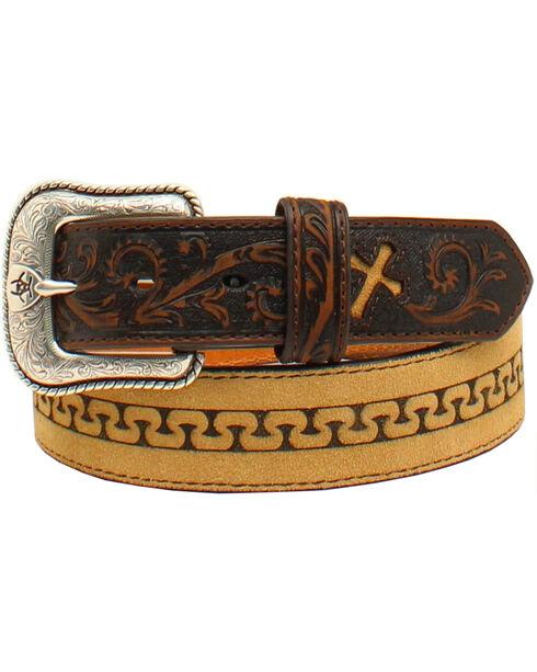 Ariat Men's Stitch Cross Tabs Belt, Med Brown, hi-res