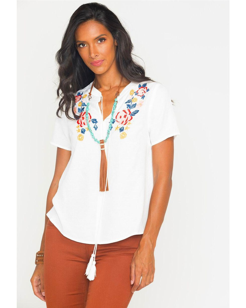 Polagram Women's Floral Embroidery Tie Neck Top , White, hi-res