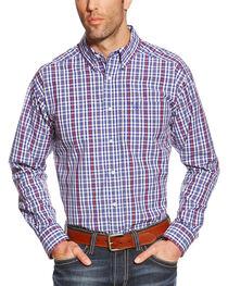 Ariat Men's Blue Plaid Pro Series Jedd Performance Shirt - Big & Tall , , hi-res