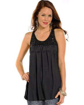 Panhandle Women's Lace Back Tank Top, Black, hi-res