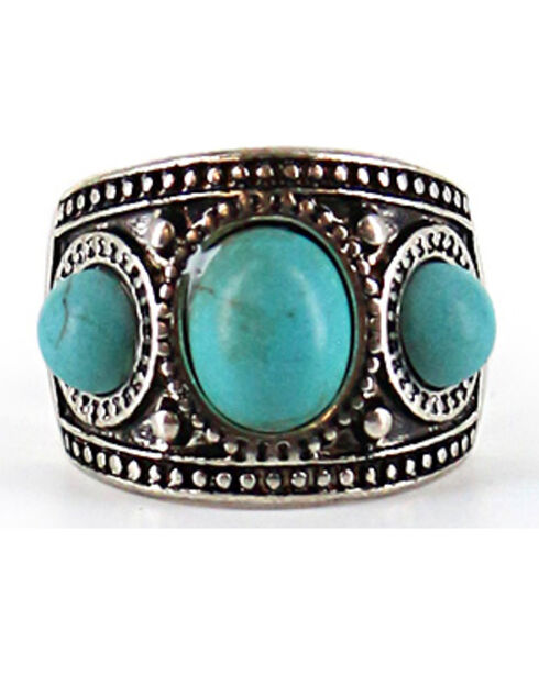 Shyanne Women's Turquoise Stone Wide Ring , Silver, hi-res