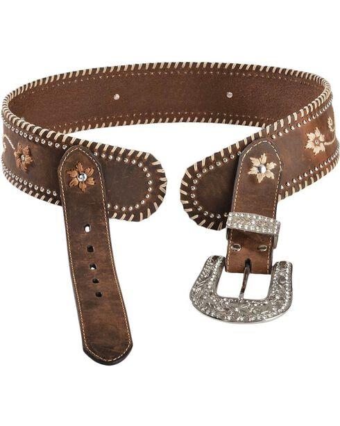 Blazin Roxx Wide Floral Embroidered Leather Belt, Brown, hi-res