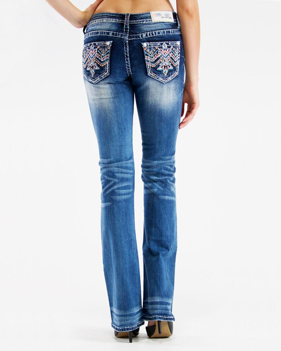 Grace in LA Women's Low Rise Aztec Embroidered Jeans - Boot Cut, , hi-res